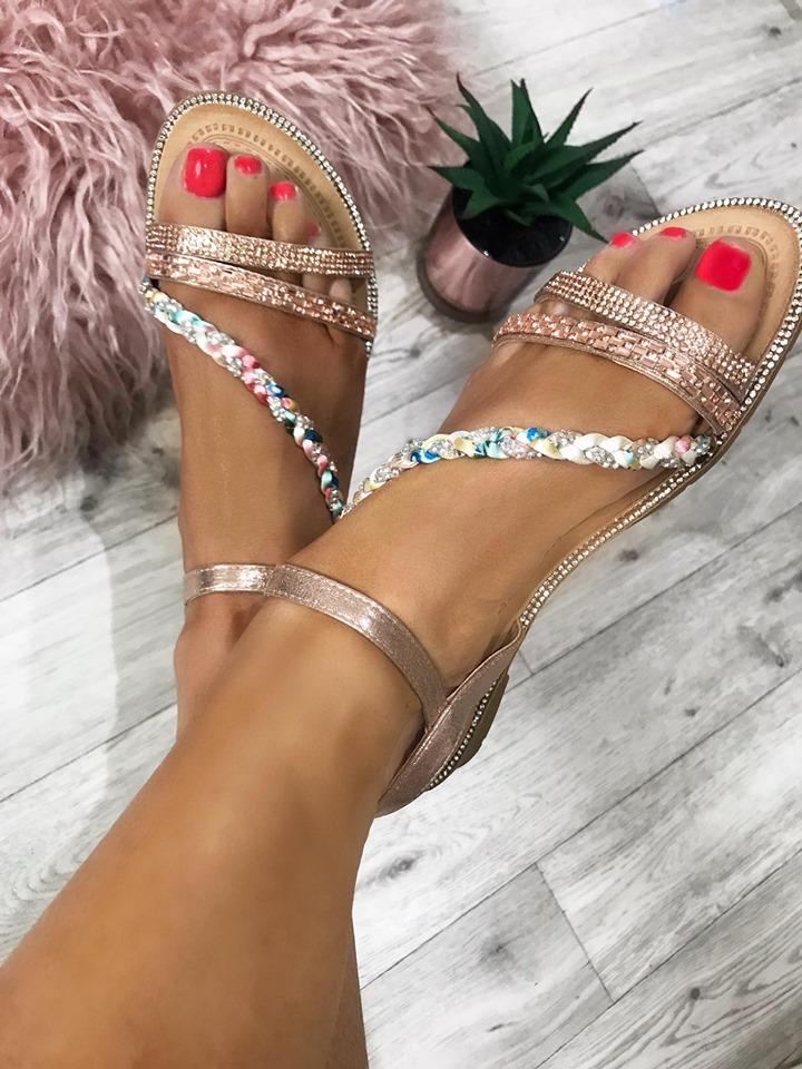 Laura Rose Gold Platt Strap Diamante Flat Sandals