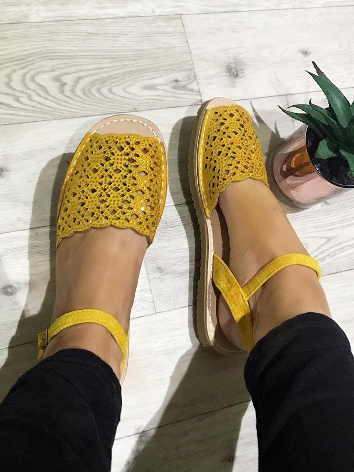 Mustard Shimmer Peep Toe Flat Sandal