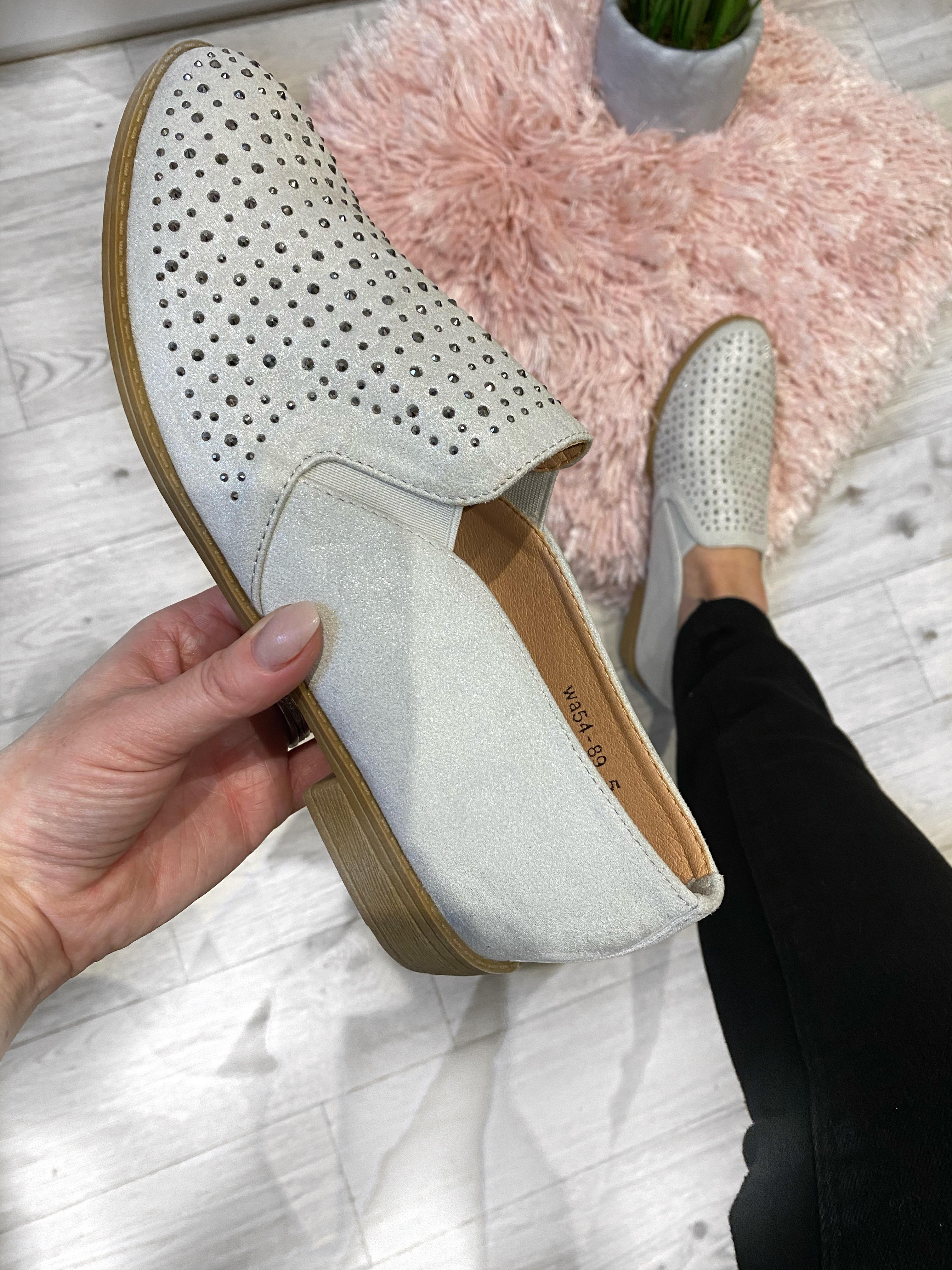 Grey Diamante Loafers