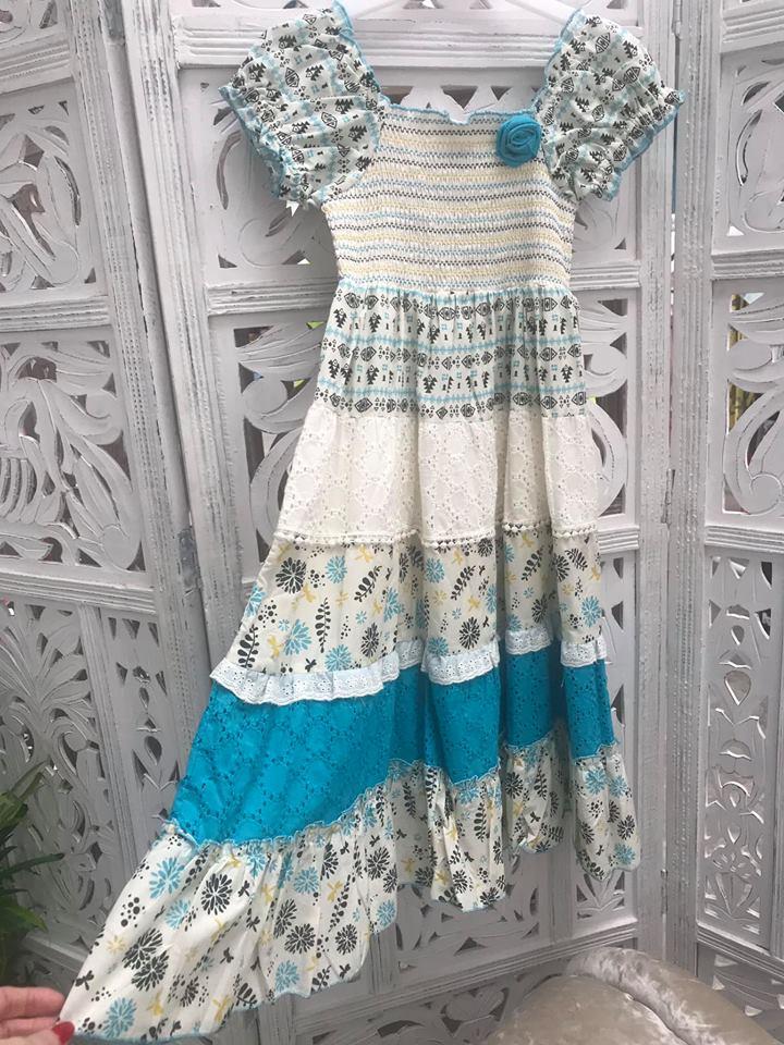 Girls Aqua Flower A Line Dress