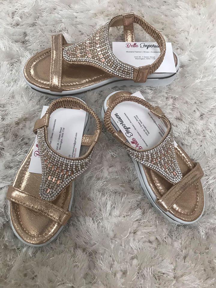 Kids/Girls Rose Gold Soft Foam Sole Sandals