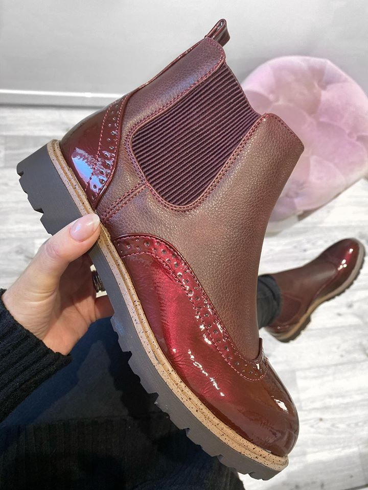 Danza Brogue Chelsea Boots - Red Wine