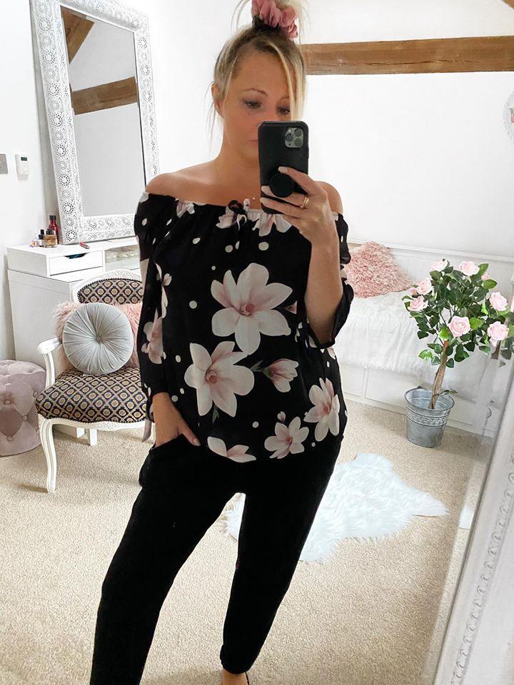 Off The Shoulder Chiffon Bardot Top - Black Floral
