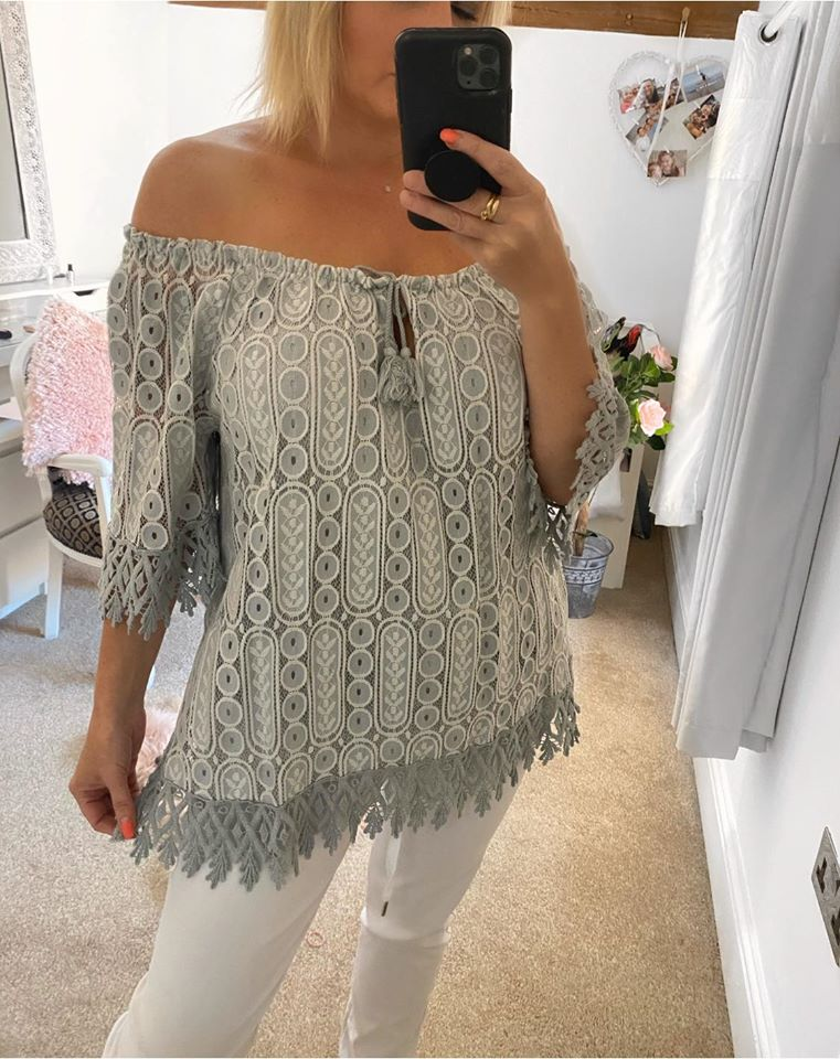 Crochet Boho Top - Grey