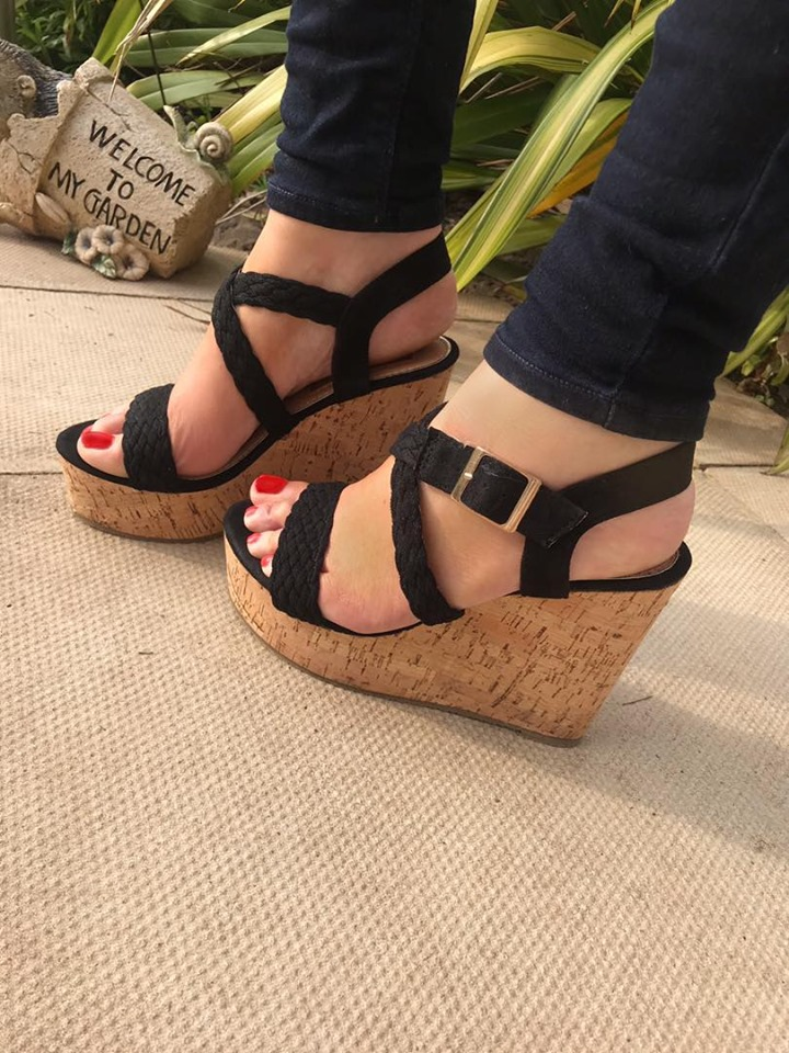 Lucie Black Suedette Plat Wedges
