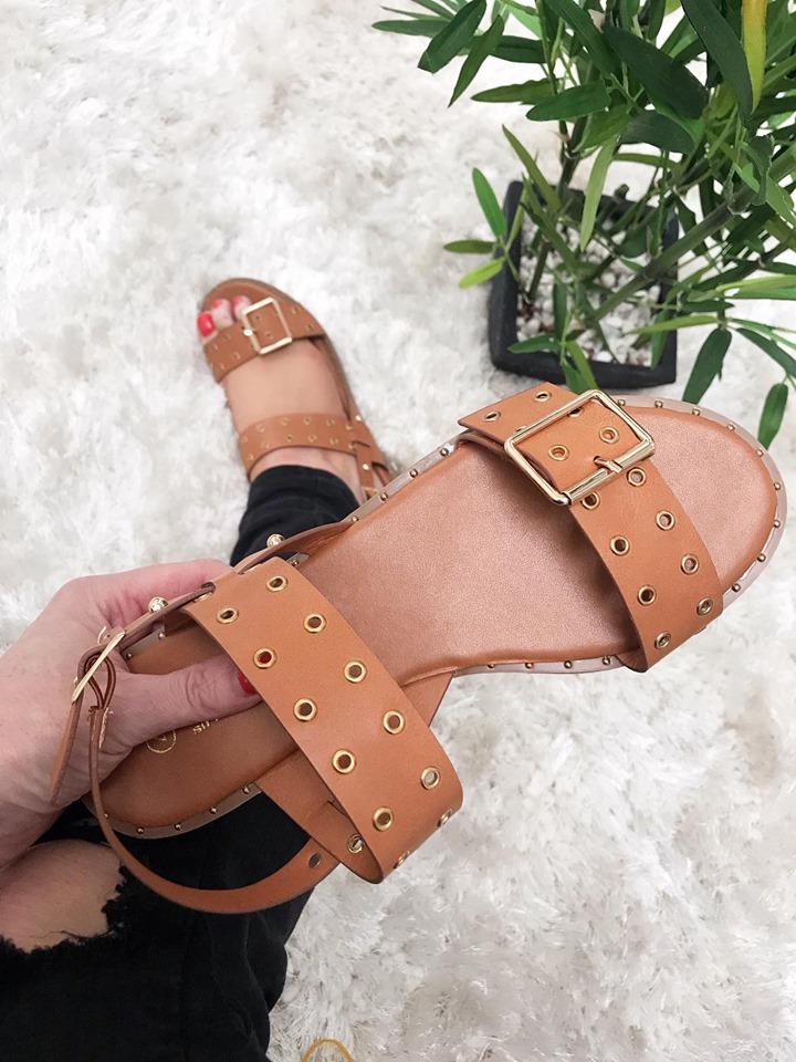 Jenny - Tan PU Eyelet Flat Sandals