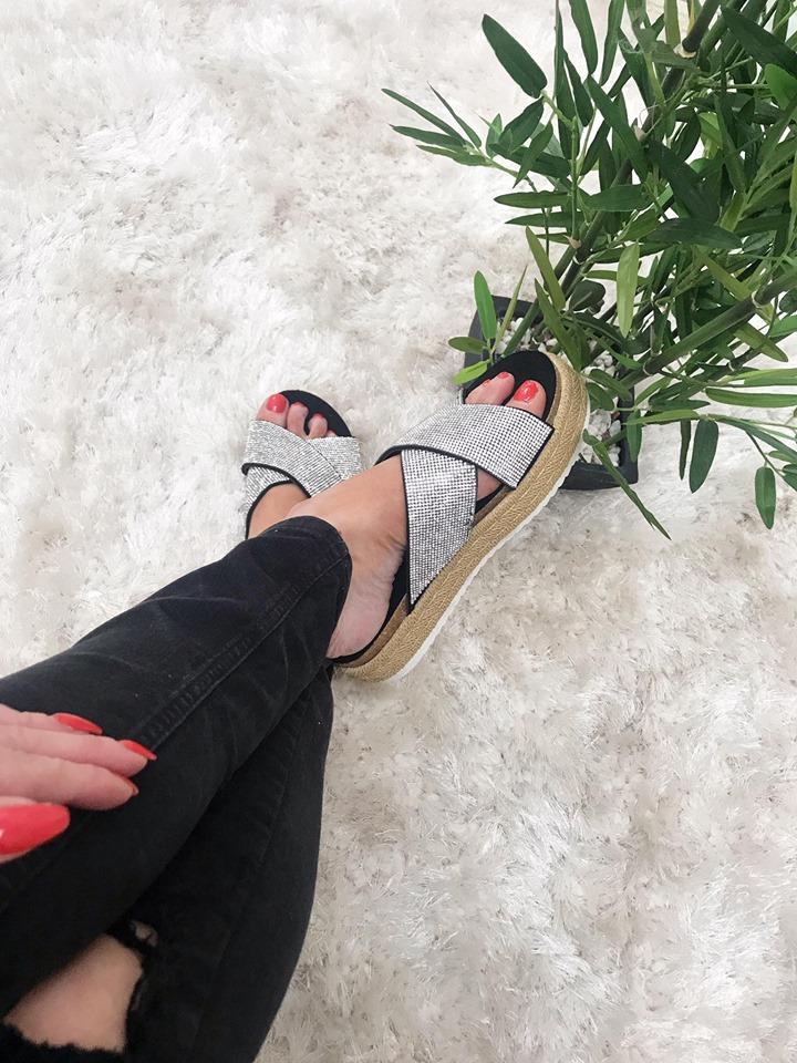 Rena - Silver/Black Diamanté Chunky Flatform Sliders