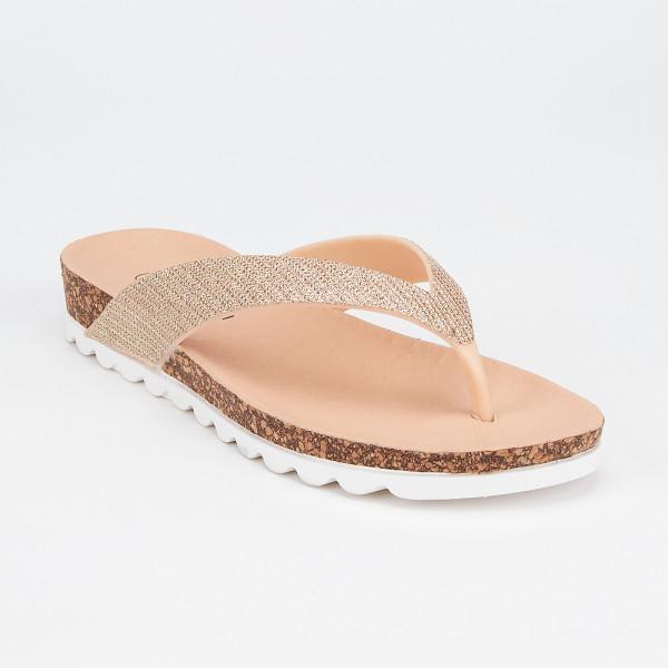 £10 Gold Shimmer Toe Thong Flats