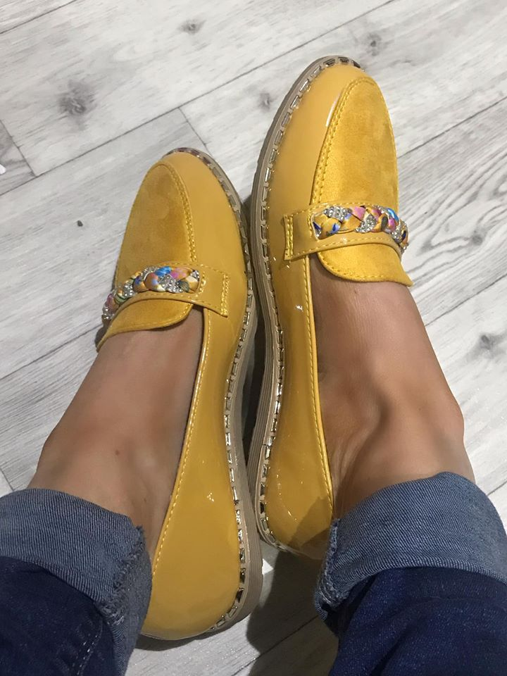 Aria Mustard Comfort Loafers - Diamante Platt Strap
