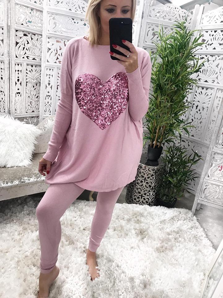 Oversized Pink Sequin Heart Loungewear Set