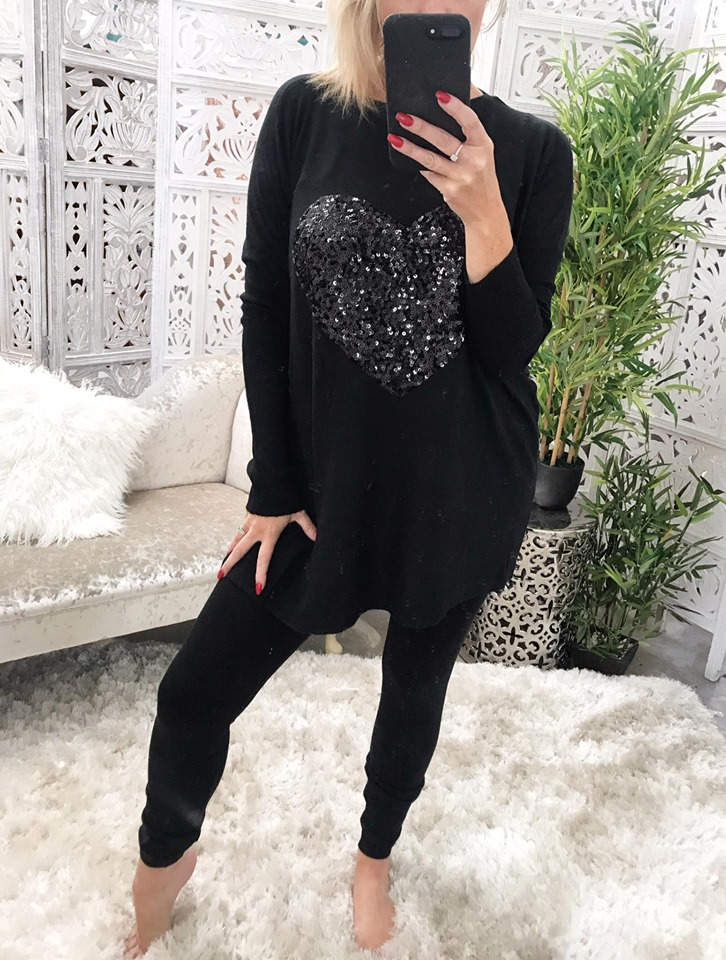 Oversized Black  Sequin Heart Loungwear Set