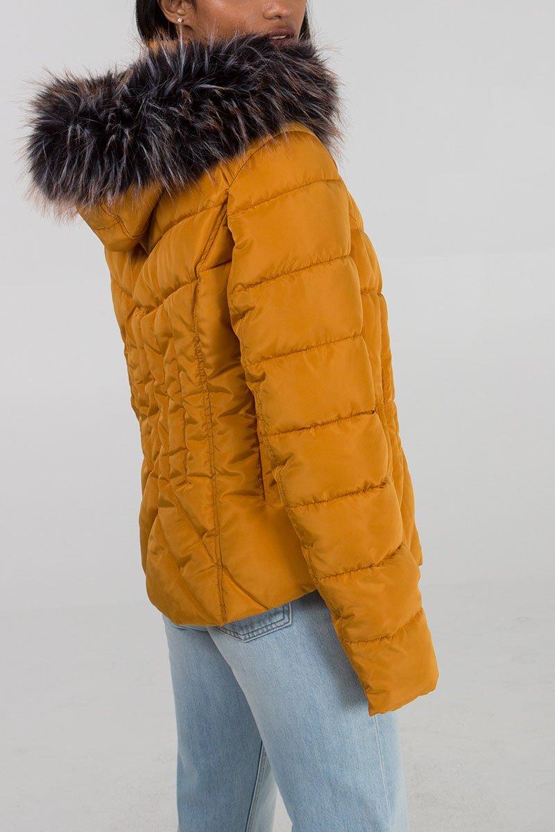 Faux Fur Hood Puffer Jacket - Mustard