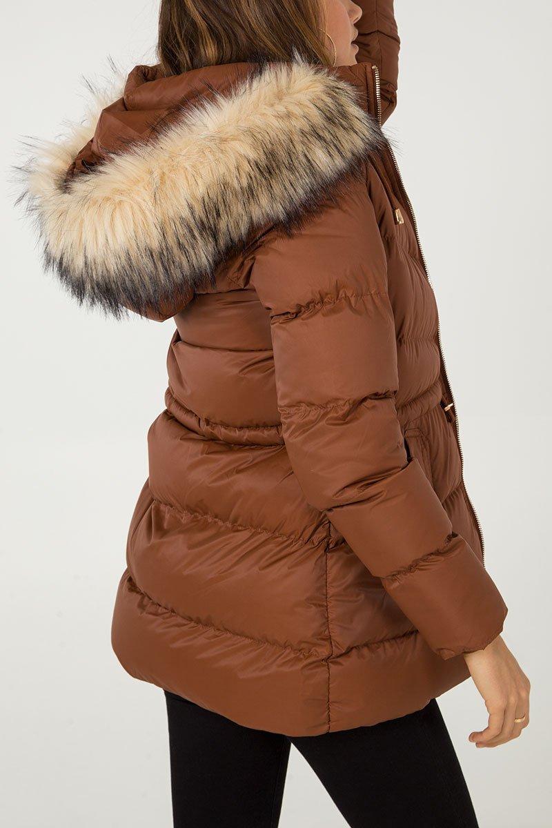 Faux Fur Hood Nipped Waist Puffer Jacket
