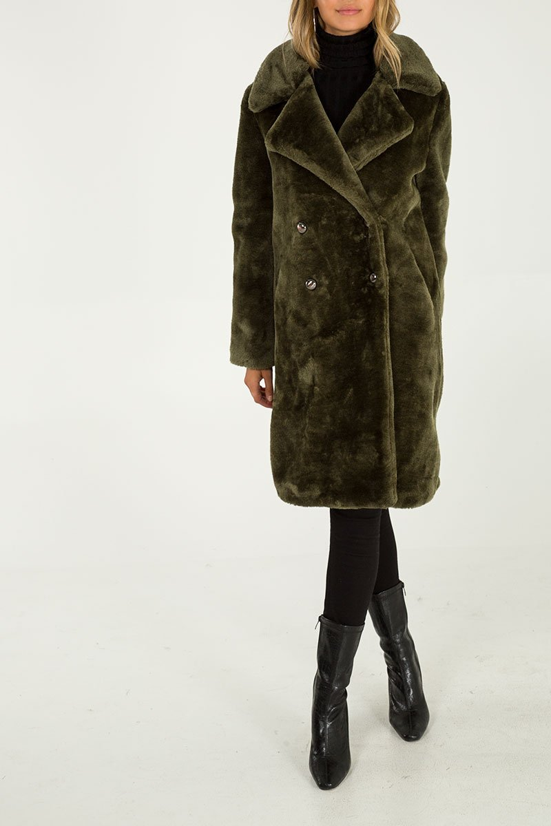 Double Breasted Faux Fur Coat - Olive