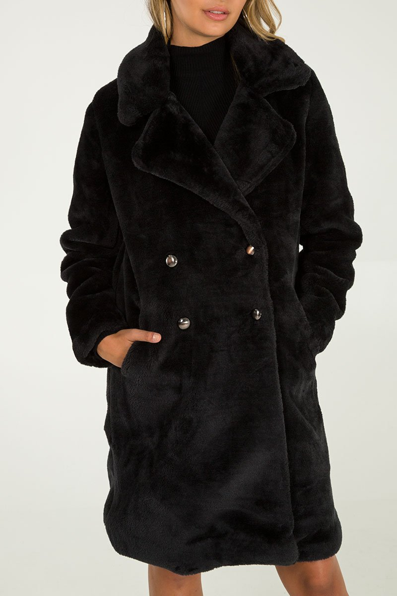 Double Breasted Faux Fur Coat - Black