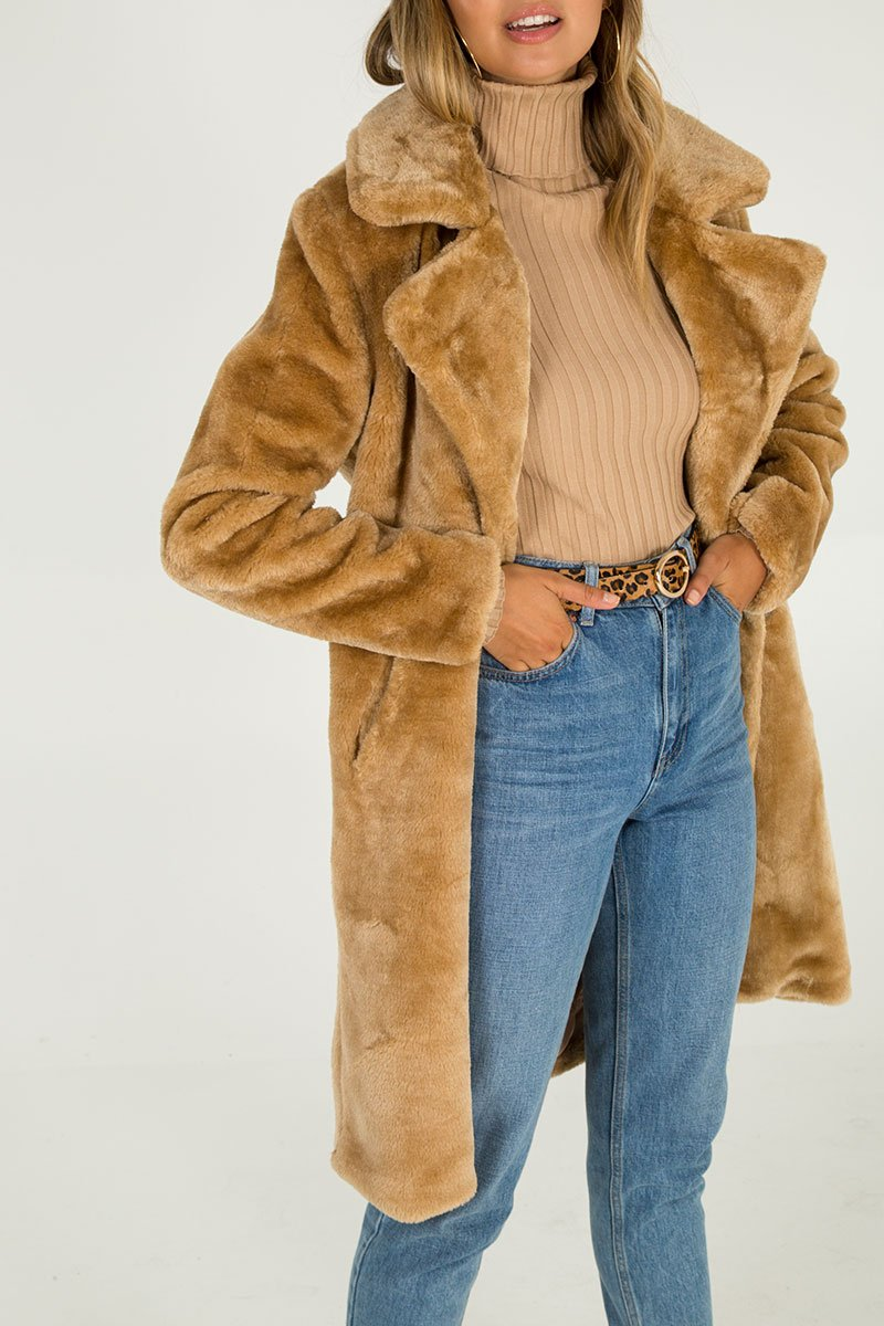 Double Breasted Faux Fur Coat - Caramel