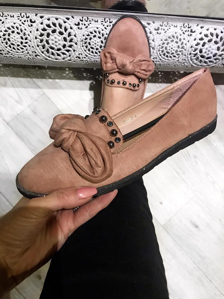 Salmon Pink Bow Comfort Loafers with Glitter Trim
