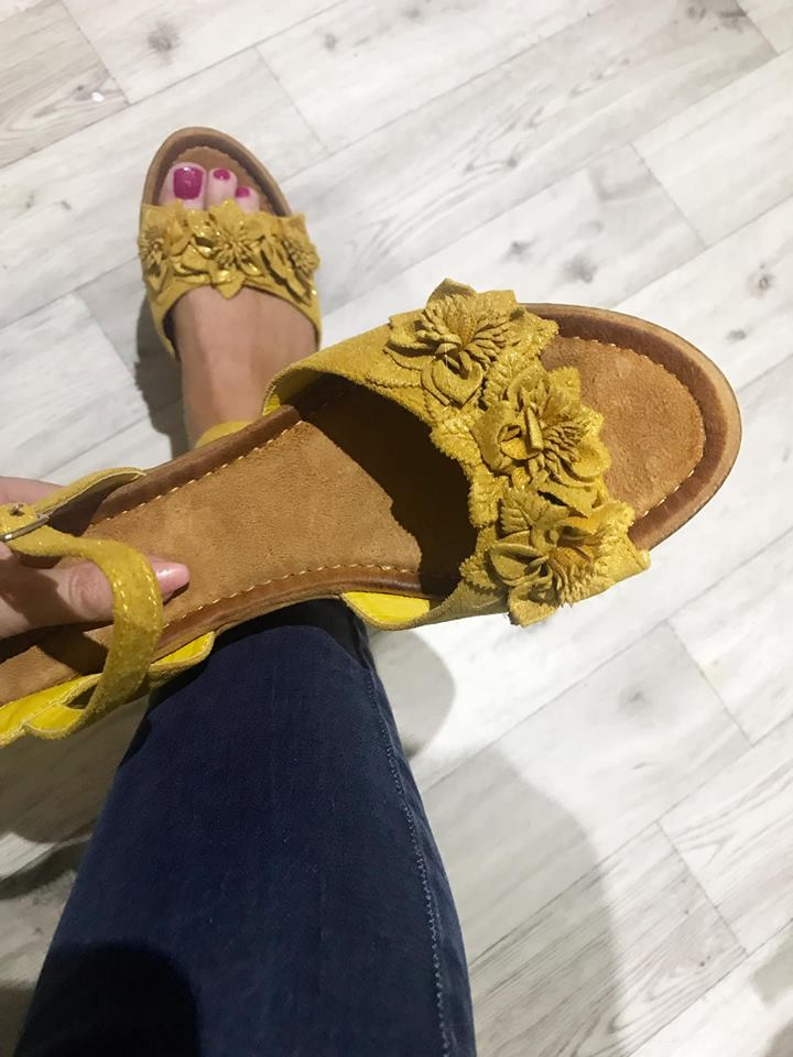 Mustard Flower Wedges  - soft sole SIZE 8 LEFT ONLY