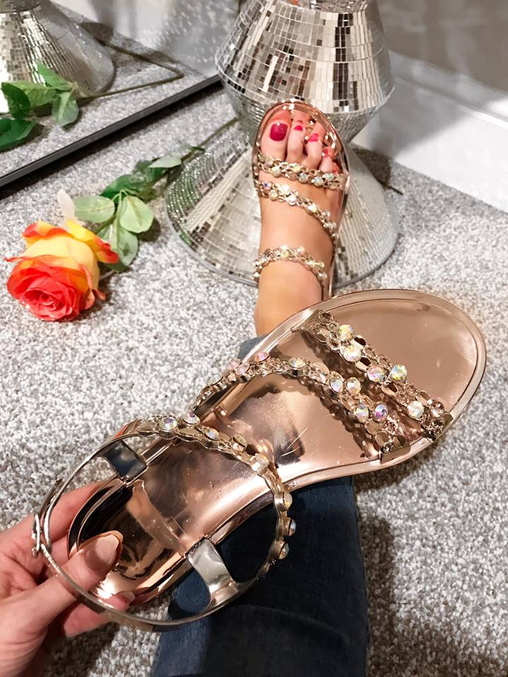 Irridiscent Rose Gold Strappy Sandals