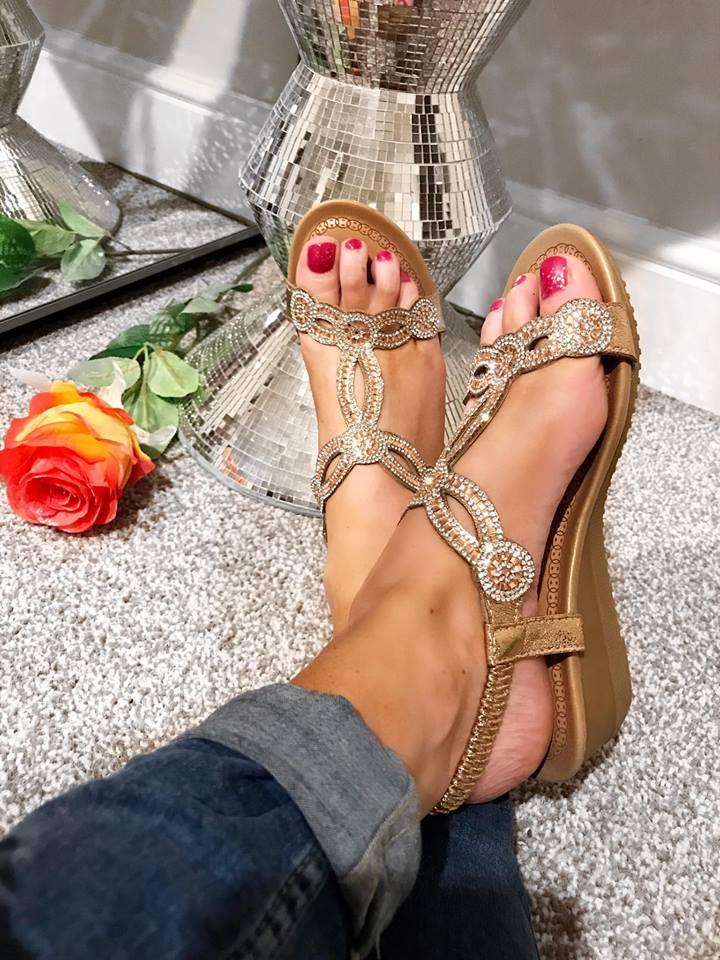 Delyla Rose Gold Diamanté Wedges