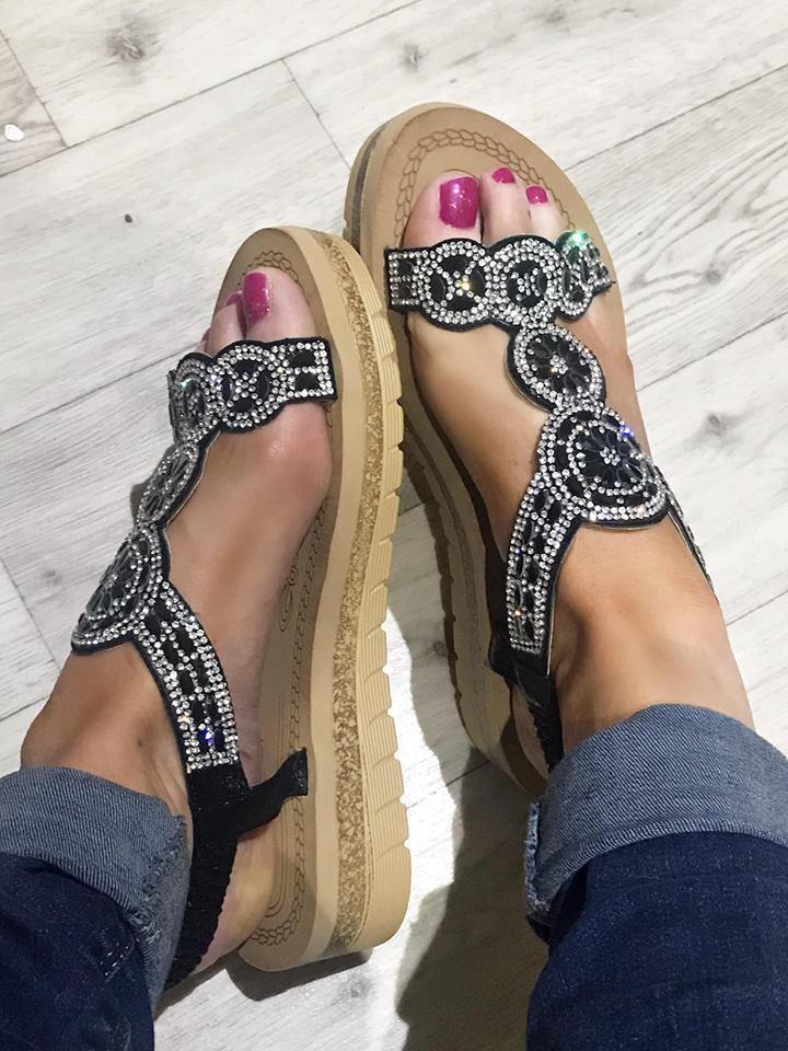 Black Oracle Flatform Diamanté Sandals
