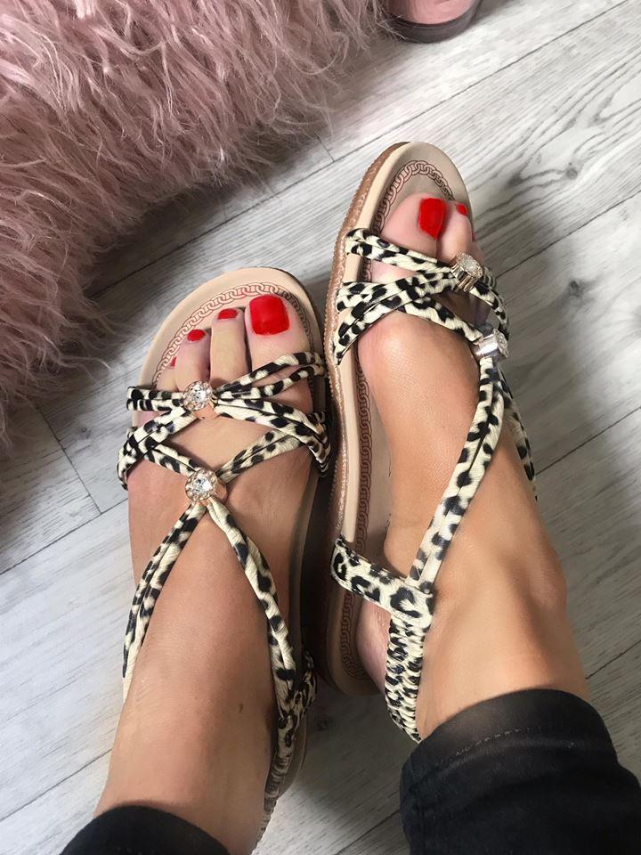 Rita Leopard Flat Comfort Sandals - Regular to - Wide Fit