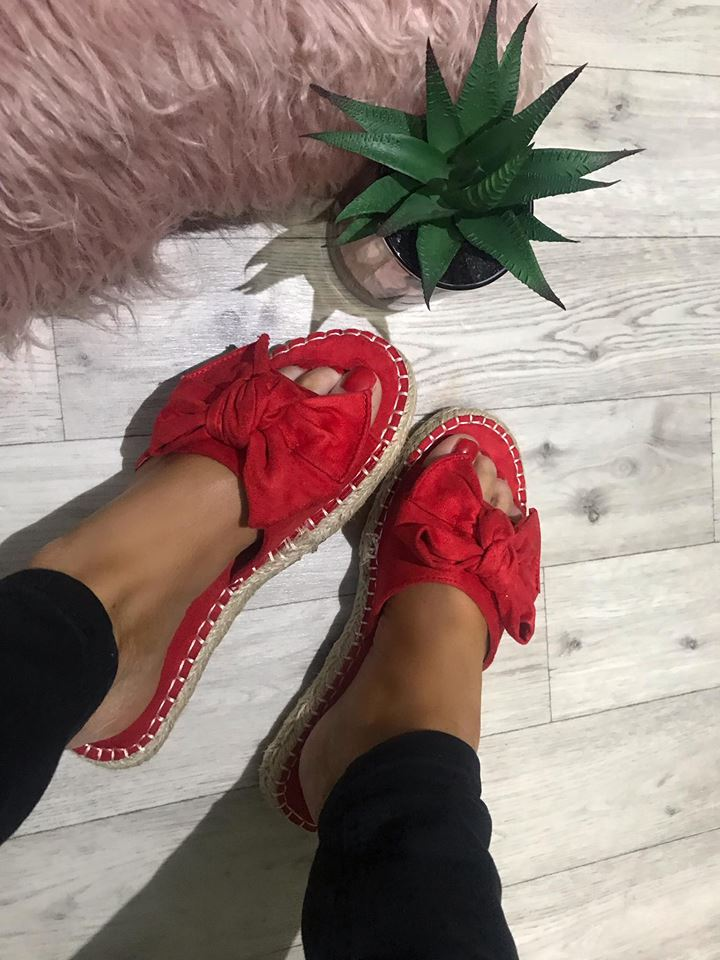 Mimmie Red Bow Suedette Espadrille Sliders
