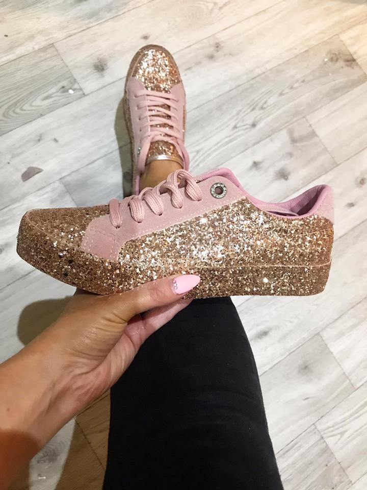 ROSE GOLD Glitter Pumps