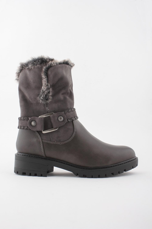 Niki Faux Fur 3/4 Ankle Boot - GREY