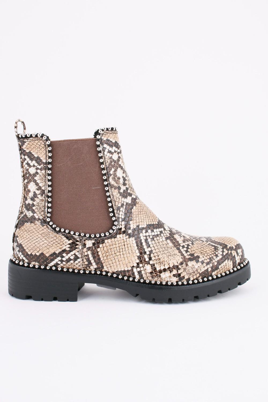 Chelsea Boots - Python Print - Beige