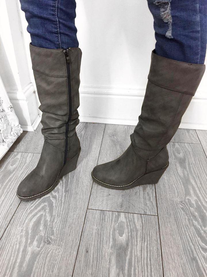Daniella Knee High Grey Wedge Boots