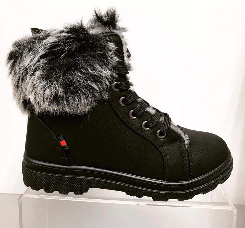Jackson Ankle Boots - Faux Fur Trim - BLACK , ORDER ONE SIZE UP