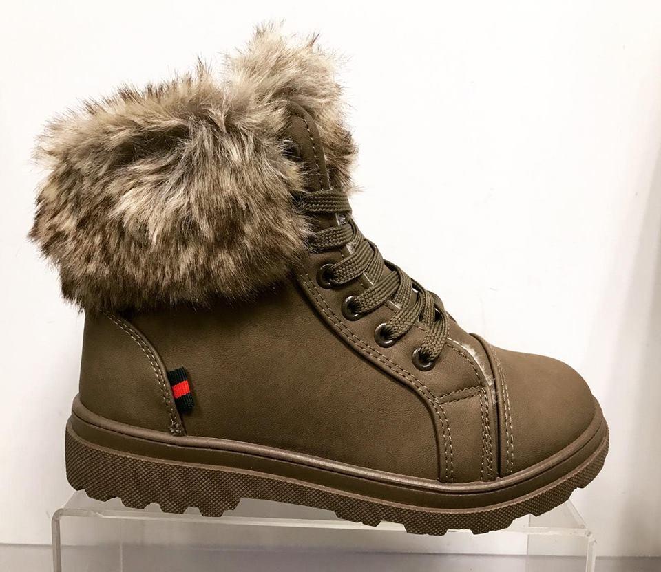 Jackson Ankle Boot - Faux Fur Trim - Grey/Khaki - ORDER ONE SIZE UP