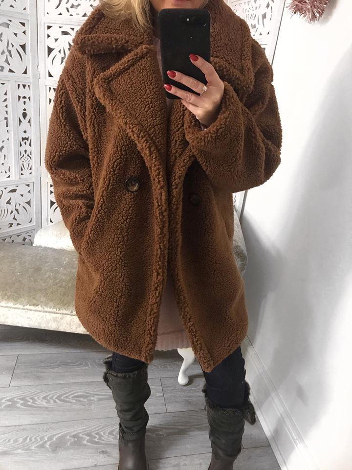 CHUNKY TEDDY BEAR COAT - COPPER