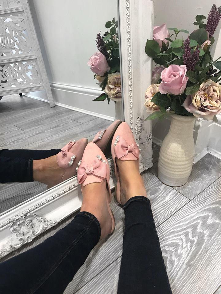 Pink Bow Pearl & Diamante Slip Ons