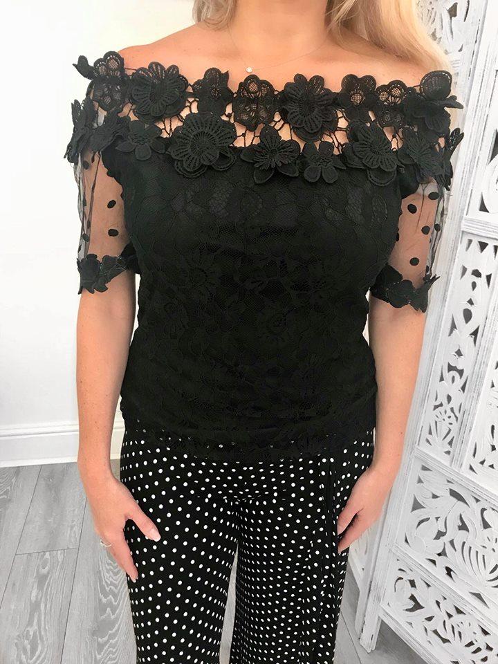 Black Flower Embellished Bardot lace Top