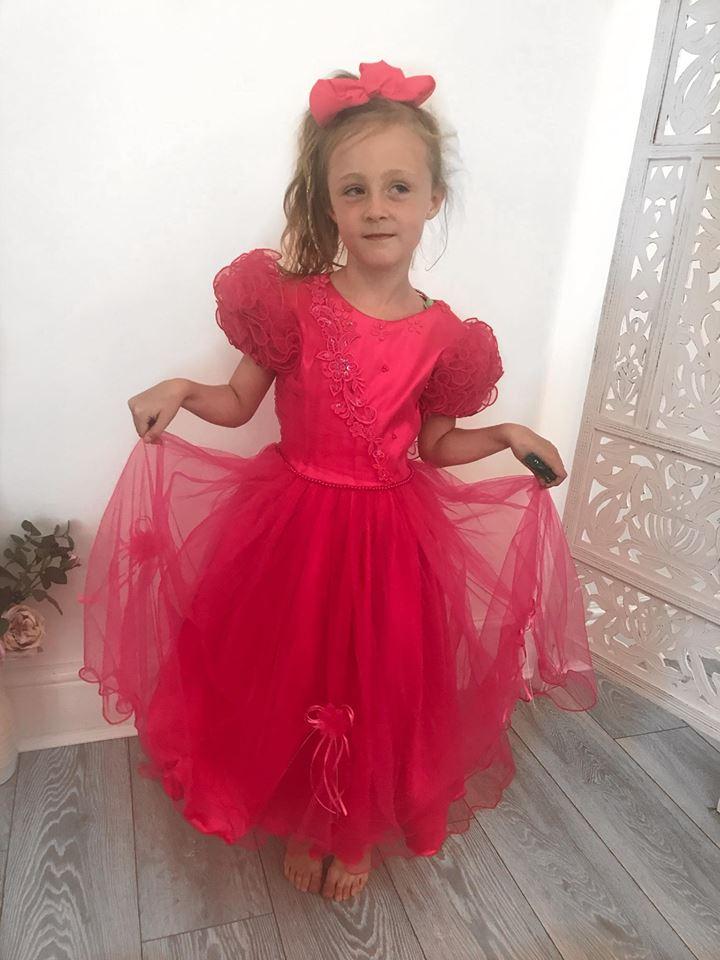 Girls Cerise Pink Bridesmaid Dress
