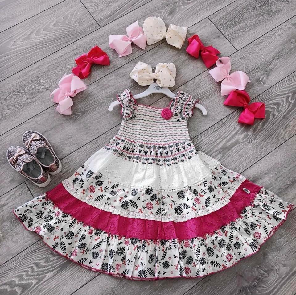 Girls Pink Flower A Line Dress