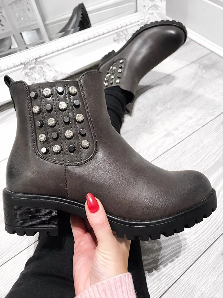Sophia Chelsea Studded Boots - Charcoal