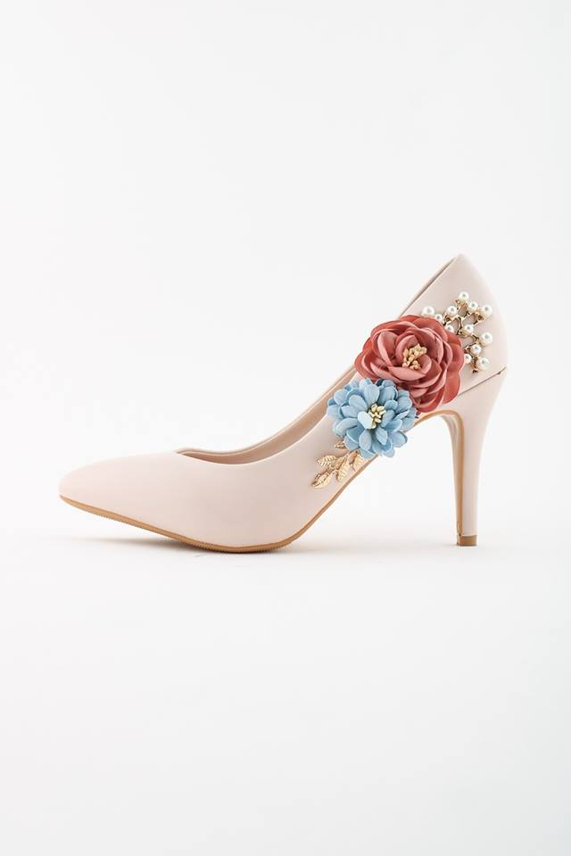 Julianna Flower Embellished Heels - Nude