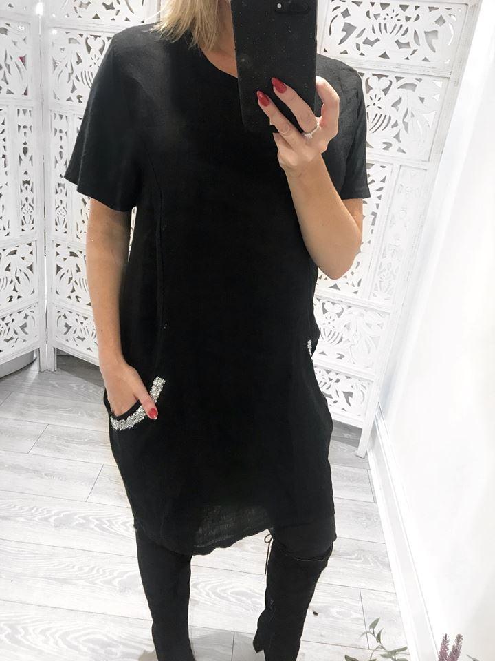 Black Linen Embellished Pocket Dress ONE SIZE 8-14