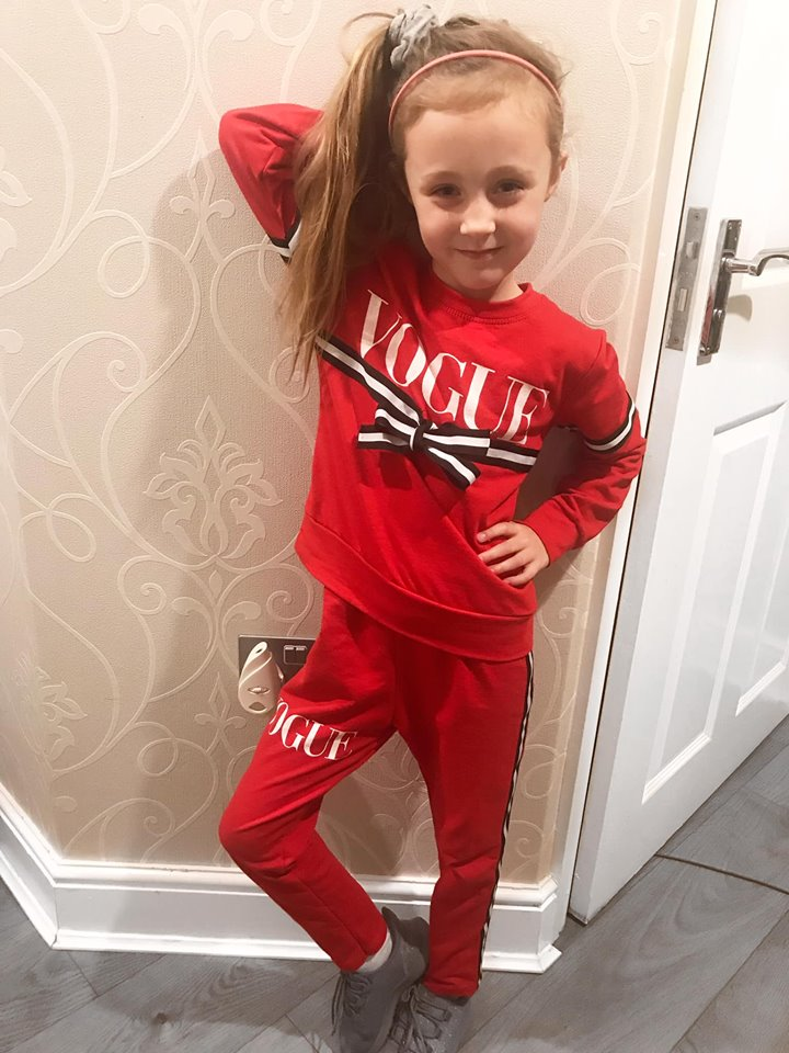 Girls Red Vogue Tracksuit
