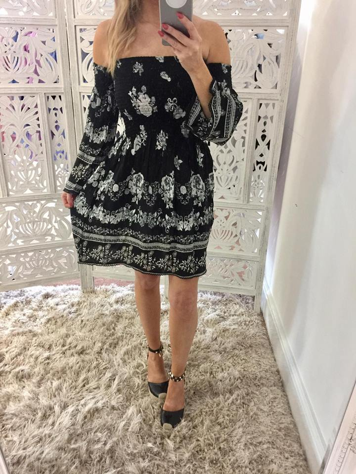 3cfaf828bc2702 Black & White Printed Bardot Smock Dress