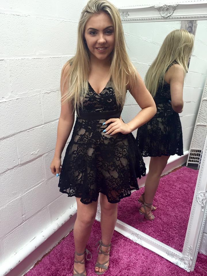 Black Mini Lace Skater Dress