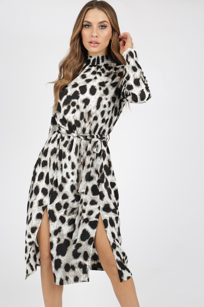 Shirred High Neck Animal Print Leopard Midi Dress With Splits