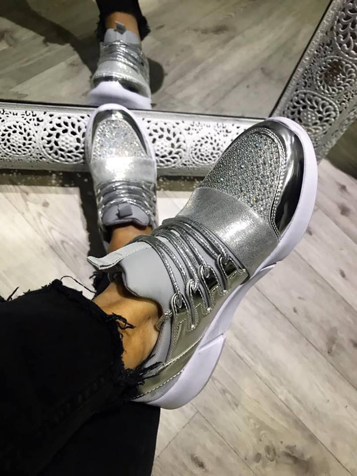 Silver Irridiscent Light weight Trainers