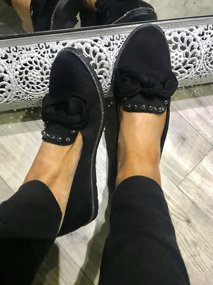Black Bow Glitter Trim Comfort Loafers