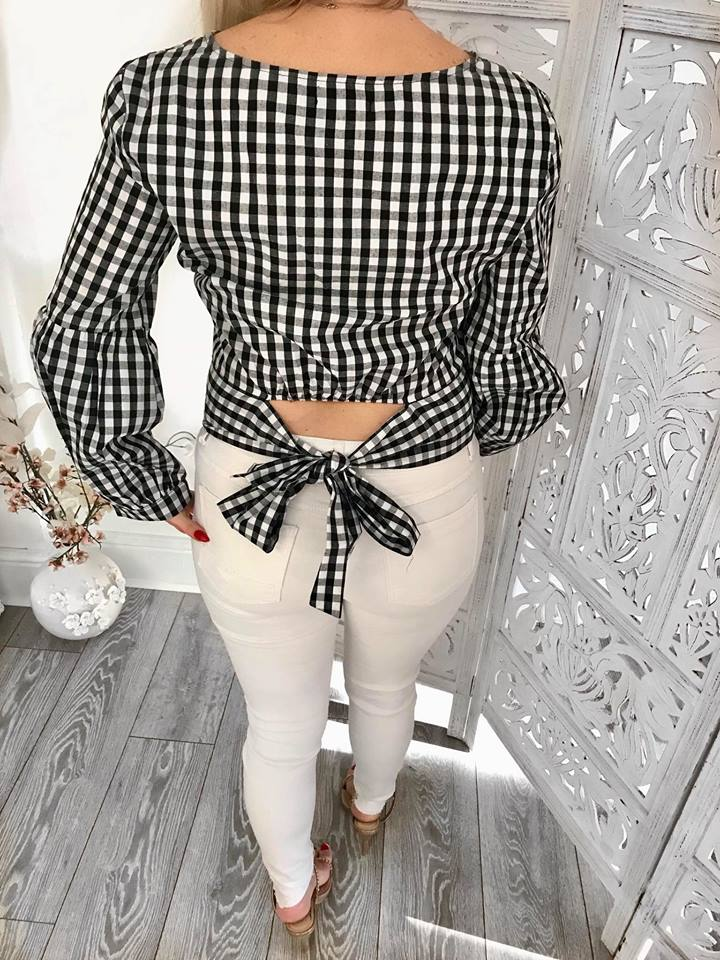 Back Bow Gingham Cropped Top