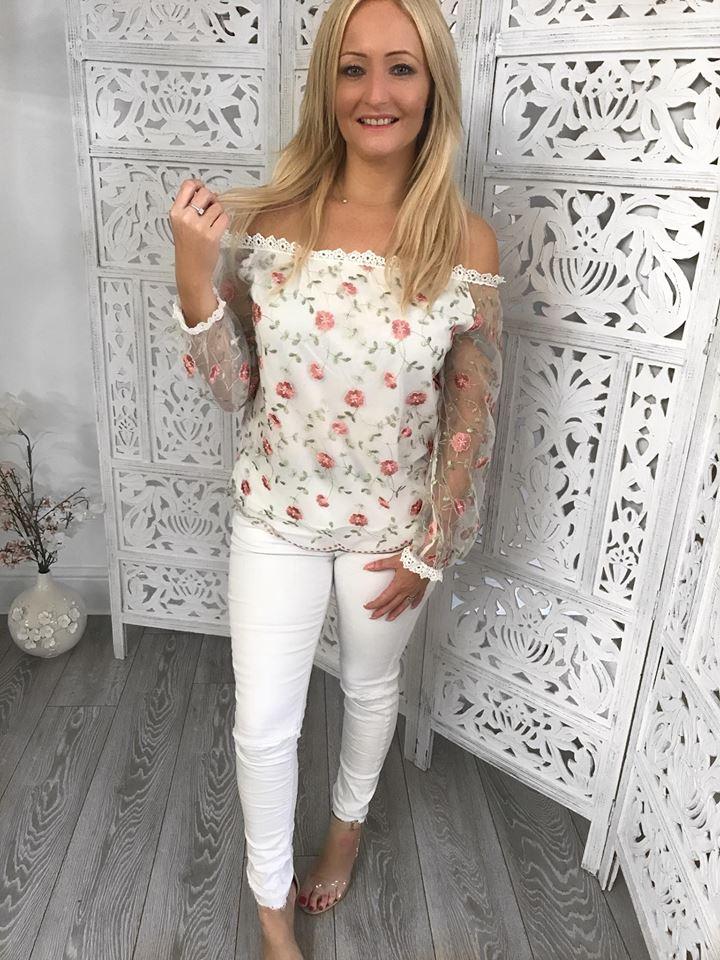 White Mesh Embroidered Bardot Top