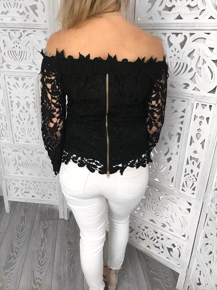 Black Crochet Zip up back Top